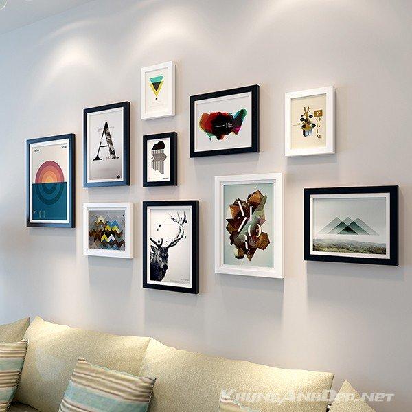 Bộ 10 khung ảnh treo tường phòng khách KA139 với sự kết hợp của khung trắng và khung đen