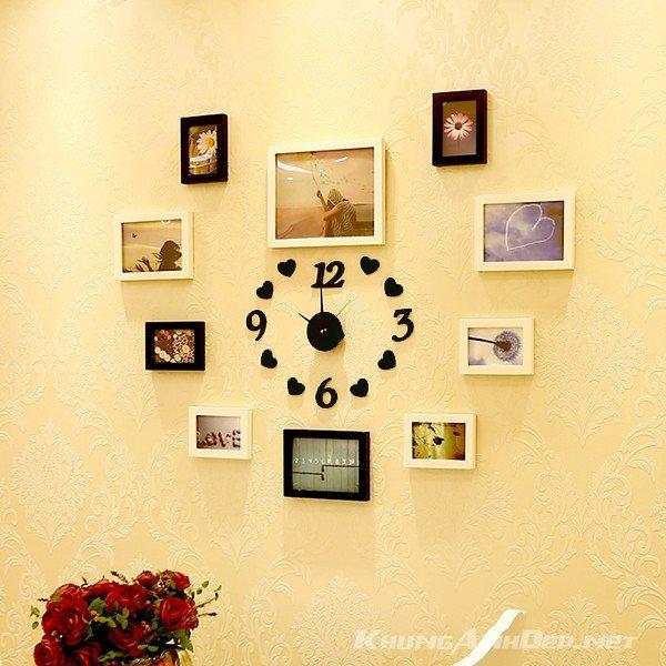 Bộ 10 khung ảnh hình trái tim KAD1004 kết hợp khung trắng đen