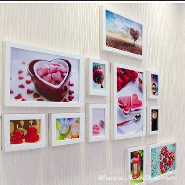 Bộ 11 khung ảnh treo tường quán Cafe KAD1104 - Khung trắng