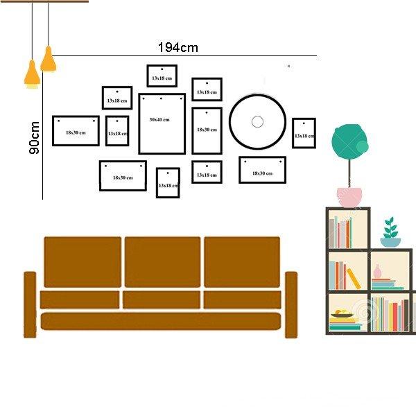 Sơ đồ cách bố trí bộ khung ảnh treo tường KAD1201