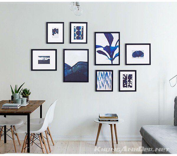 Bộ 8 khung ảnh treo tường phòng khách, văn phòng kAD802