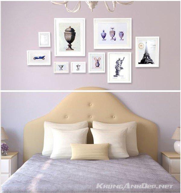 Bộ 9 khung ảnh treo tường KAD901 trong bối cảnh trang trí phòng ngủ