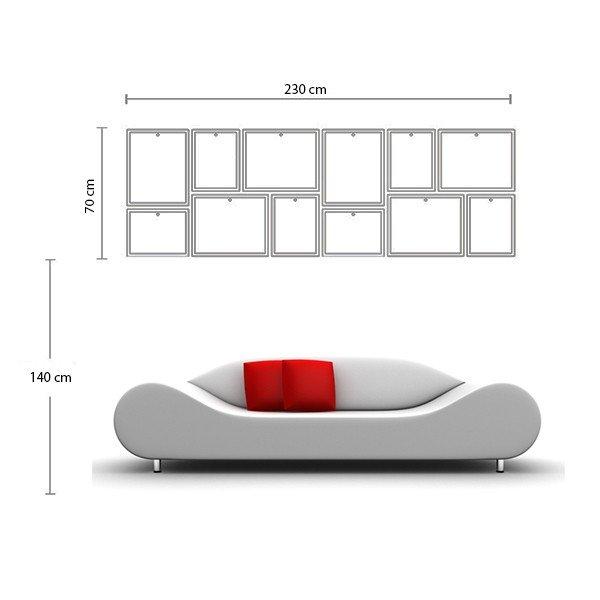 Sơ đồ tham khảo cách bố trí bộ 12 khung ảnh treo tường phòng khách lớn KAD1202