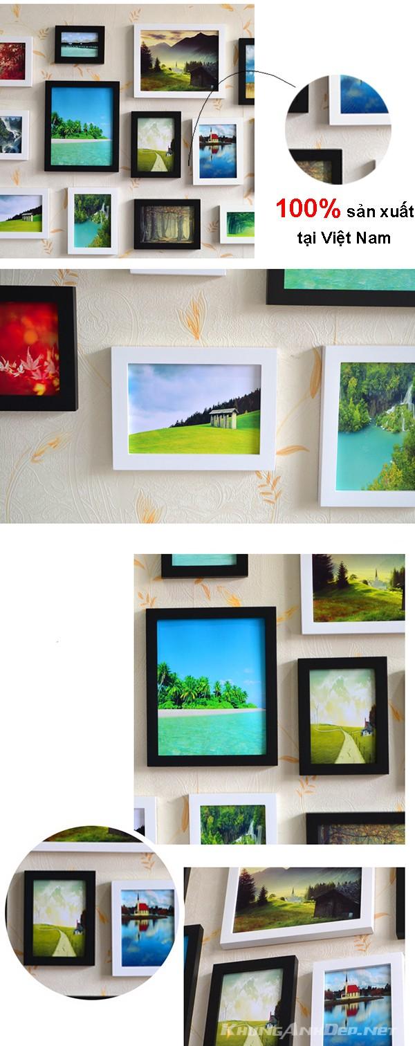 Cận cảnh chi tiết bộ 15 khung ảnh treo tường phòng khách KAD1502