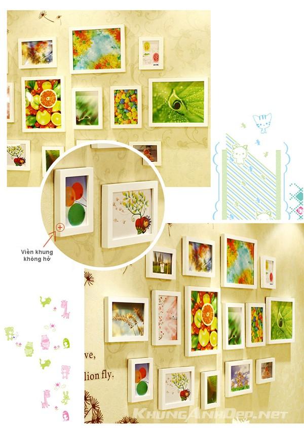 Chi tiết bộ 15 khung ảnh treo tường phòng ngủ KAD1505 tất cả viền trắng