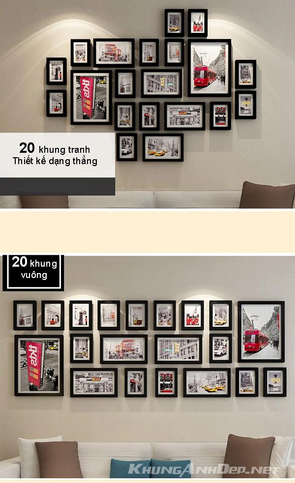 So sánh 2 cách bố trí bộ 20 khung ảnh treo tường KAD2003
