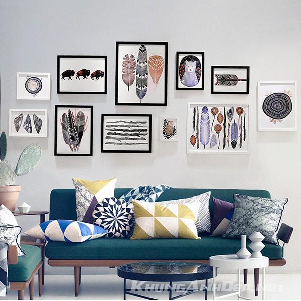 Bộ 11 khung ảnh treo tường phòng khách hiện đại KAD1106
