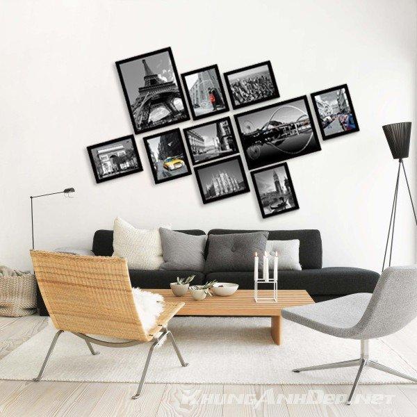 Bộ khung ảnh treo tường phòng khách 10 khung KAD1006