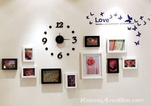 Bố trí bộ 10 khung ảnh treo tường phòng ngủ KAD1001 trong phòng sơn màu trắng
