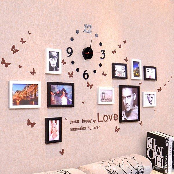 Bộ 10 khung ảnh treo tường phòng ngủ KAD1001 kết hợp khung trắng đen
