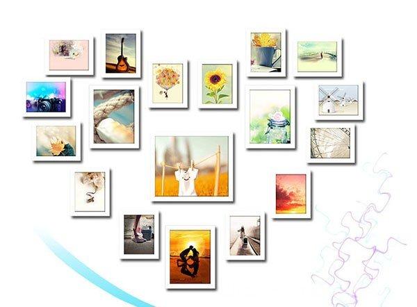 18 khung ảnh treo tường được bố trí theo hình trái tim lãng mạn