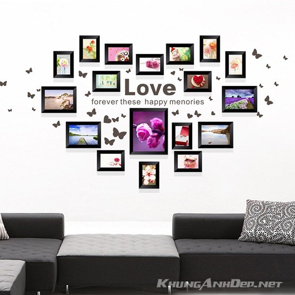 Bộ 18 khung ảnh treo tường hình trái tim phù hợp với những không gian rộng