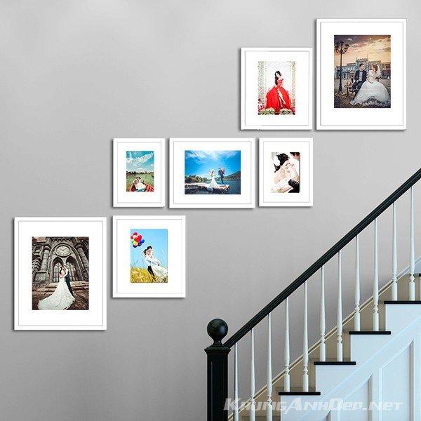 bộ 7 khung ảnh treo tường cầu thang KAD702 cũng có thể là nơi lưu giữ những bức ảnh cưới của bạn