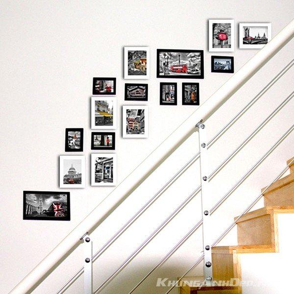 Bố trí với cầu thang có lan can inox hiện đại