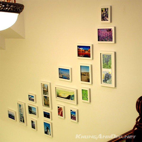 Bộ 18 khung ảnh treo tường cầu thang sử dụng khung trắng