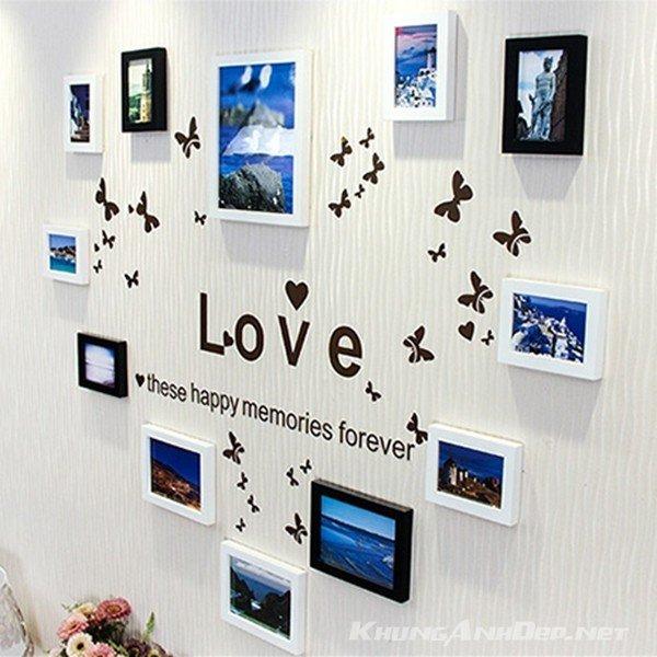 Bộ 12 khung ảnh treo tường hình trái tim lãng mạn KAD1205