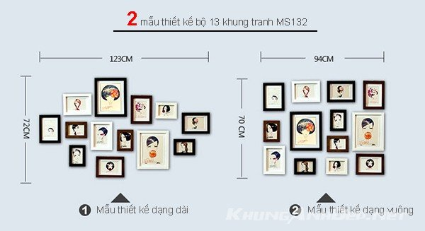 Tham khảo 2 mẫu sắp xếp sau cho bộ 13 khung ảnh