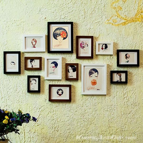 Bộ 13 khung ảnh treo tường phòng khách, quán Cafe