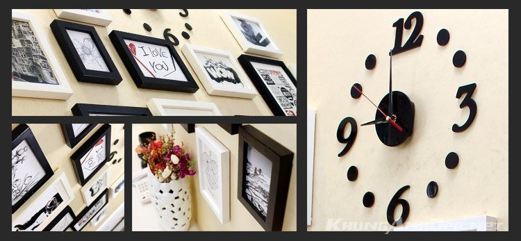 Cận cảnh bộ khung ảnh kết hợp với đồng hồ dán tường