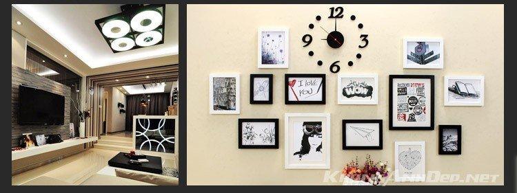 Bộ khung ảnh phù hợp trang trí không gian phòng khách hiện đại hoặc trang trí quán Cafe