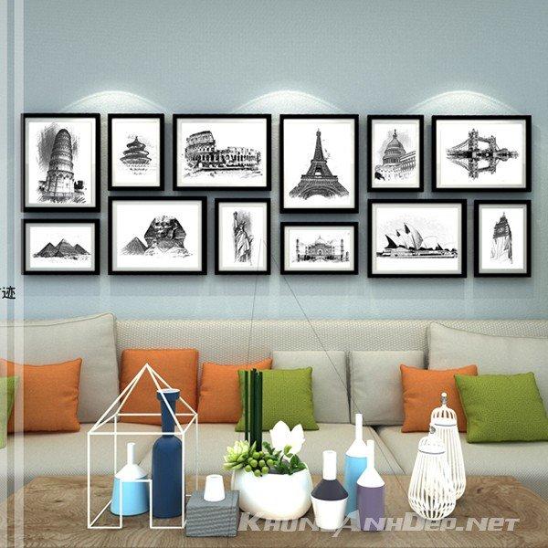 Bộ 12 khung ảnh treo tường KAD1202 phối toàn khung viền đen, Phù hợp cho việc trang trí phòng khách có diện tích lớn