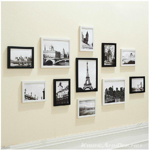 Bộ 11 khung kết hợp khung viền đen và khung viền trắng mang lại vẻ tươi mới cho bức tường