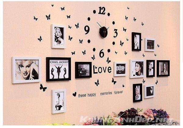 Bộ 13 khung ảnh treo tường trẻ trung kết hợp đồng hồ và decal