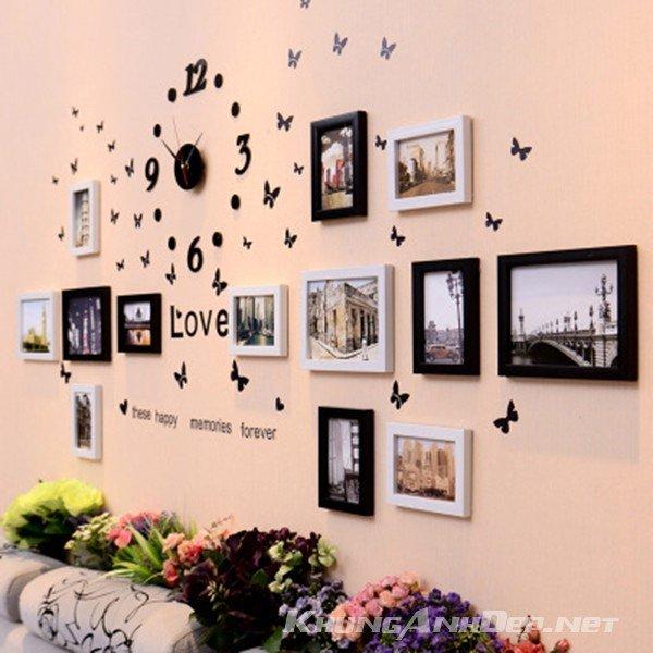 Kết hợp tinh tế với đồng hồ dán tường và decal chữ Love