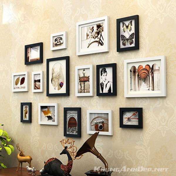 Bộ 15 khung ảnh treo tường phòng khách chung cư KAD1502