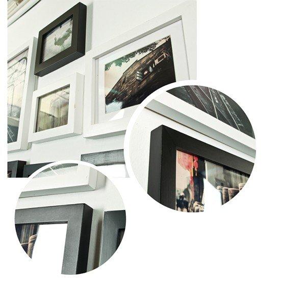 Bộ 16 khung ảnh treo tường phòng ngủ KAD1601 kết hợp giữa khung trắng và khung đen với cách sắp xếp linh động