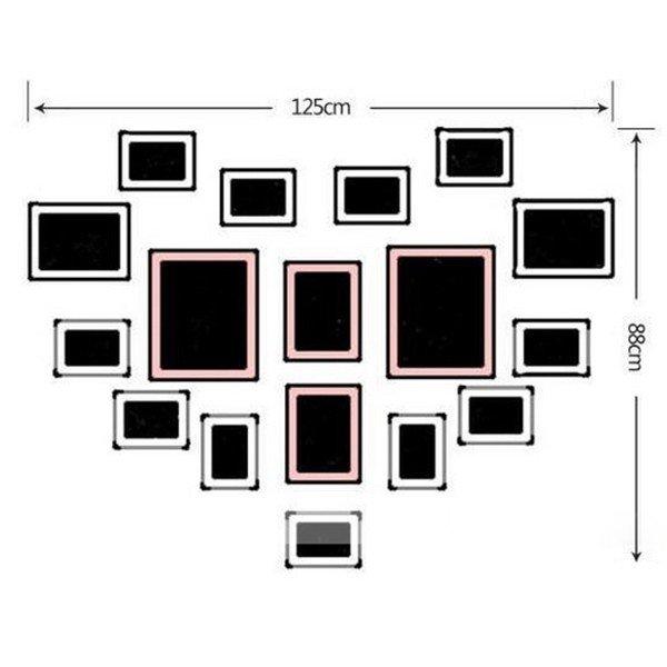 Sơ đồ bố trí bộ 17 khung ảnh hình trái tim KAD1701