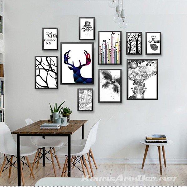 Bộ 10 khung ảnh treo tường phòng khách, văn phòng KAD1005