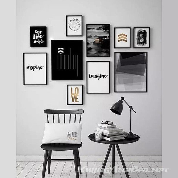 Bộ 10 khung ảnh treo tường KAD1005 rất phù hợp với những không gian cần sự tập trung như văn phòng làm việc, phòng khách...