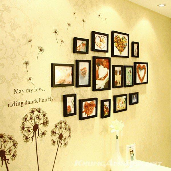 Bộ 15 khung ảnh treo tường phòng ngủ KAD1505 với sự kết hợp của toàn khung viền đen cũng là 1 ý tưởng tuyệt vời với bức tường màu nhạt