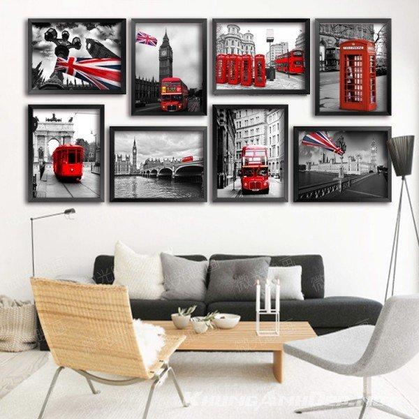 Bộ 8 khung ảnh treo tường phòng khách, văn phòng KAD803