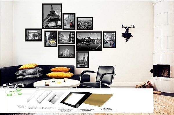 Cách bố trí phá cách mang tới cho bộ khung ảnh treo tường KAD1006 1 phòng cách rất trẻ trung, sáng tạo. Phù hợp trang trí phòng khách