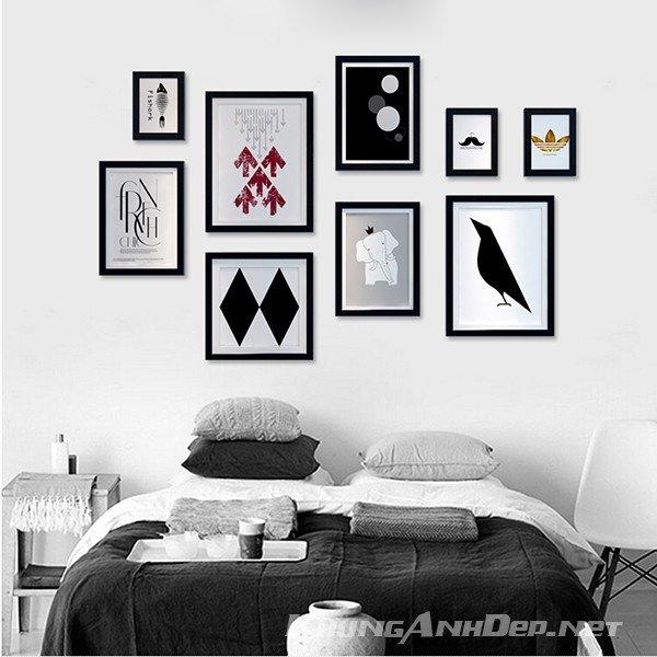 Bộ khung ảnh treo tường phòng khách chung cư KAD905