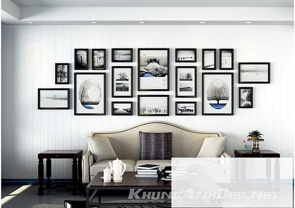 Bộ 18 khung ảnh treo tường phòng khách KAD1805 được bố trí 1 cách khoa học sẽ mang tới cho khoảng tường trống phòng khách 1 diện mạo hoàn toàn khác