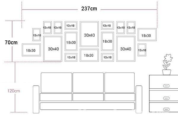Sơ đồ bố trí bộ khung ảnh treo tường phòng khách 18 khung KAD1805
