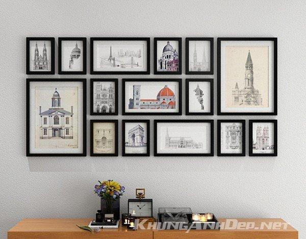 Bộ khung ảnh treo tường quán Cafe, Phòng khách 15 khung KAD1506
